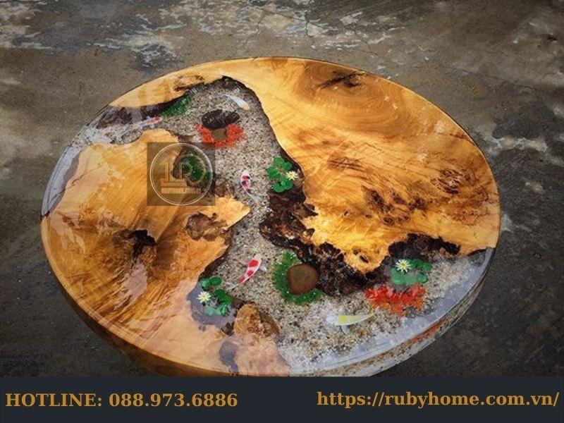 bàn epoxy cá koi