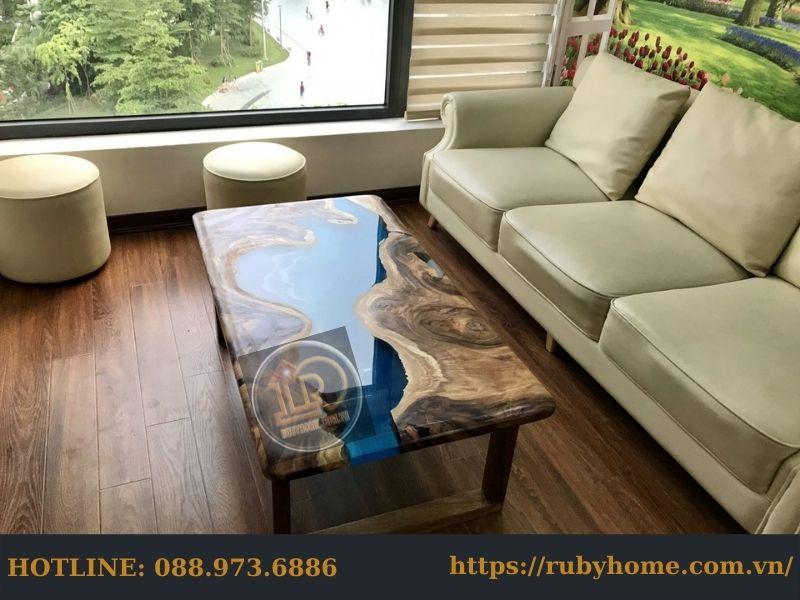 bàn gỗ epoxy phòng khách