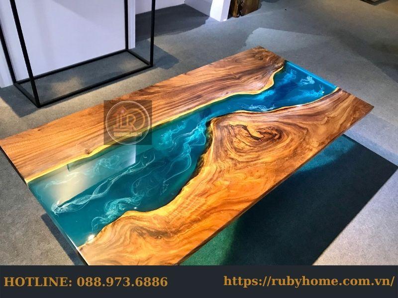 bàn gỗ phủ keo epoxy