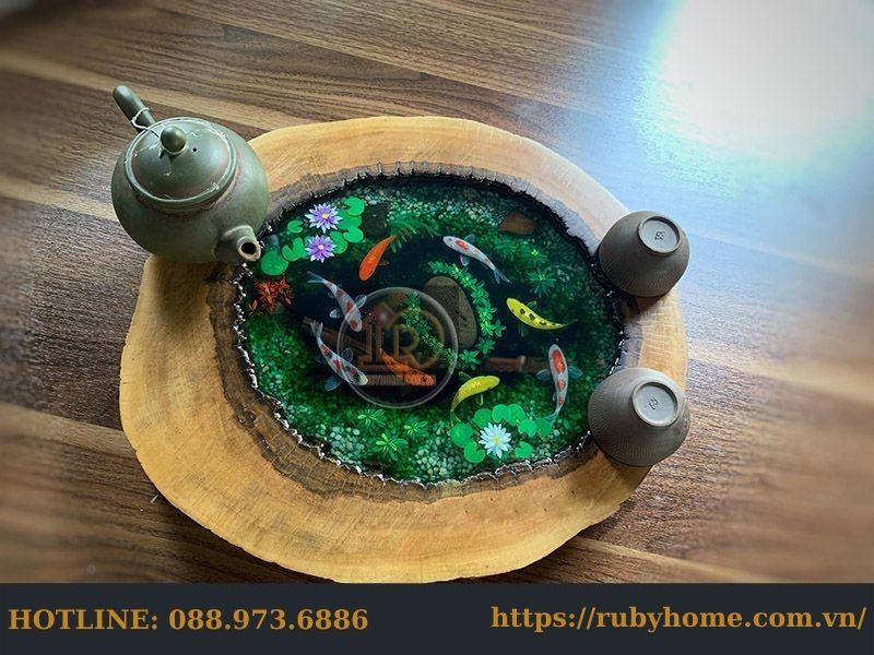 bàn trà cá koi epoxy resin