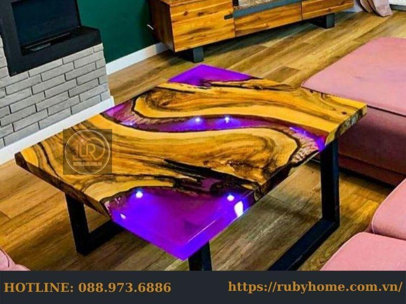 mặt bàn Epoxy resin neon