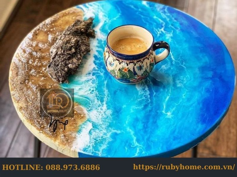 mặt bàn gỗ đổ keo epoxy