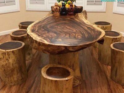 Mặt bàn tròn gỗ me tây phù hợp với mọi không gian nội thất